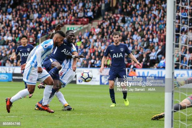 Moussa Sissoko of Tottenham Hotspur scores a goal to make it 04 during the Premier League match between Huddersfield Town and Tottenham Hotspur at...