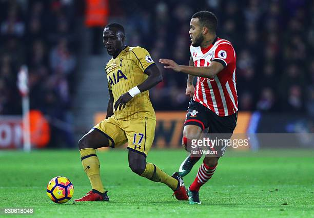 Moussa Sissoko of Tottenham Hotspur takes on Ryan Bertrand of Southampton during the Premier League match between Southampton and Tottenham Hotspur...