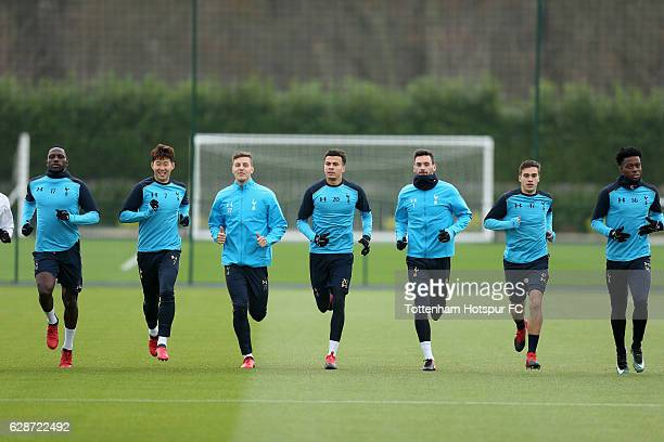Moussa Sissoko Son Heungmin Kevin Wimmer Dele Alli Hugo Lloris Harry Winks and Josh Onomah of Tottenham during the Tottenham Hotspur training session...