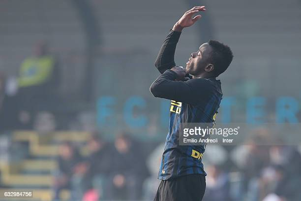 Moussa Souare of FC Internazionale Milano celebrates after scoring the opening goal during the Primavera Tim juvenile match between FC Internazionale...