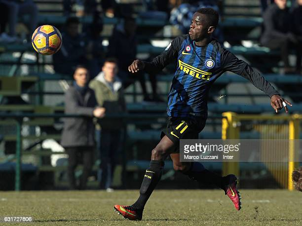 Moussa Souare of FC Internazionale Milano in action during the Primavera Tim juvenile match between FC Internazionale and Genoa CFC at Stadio Breda...