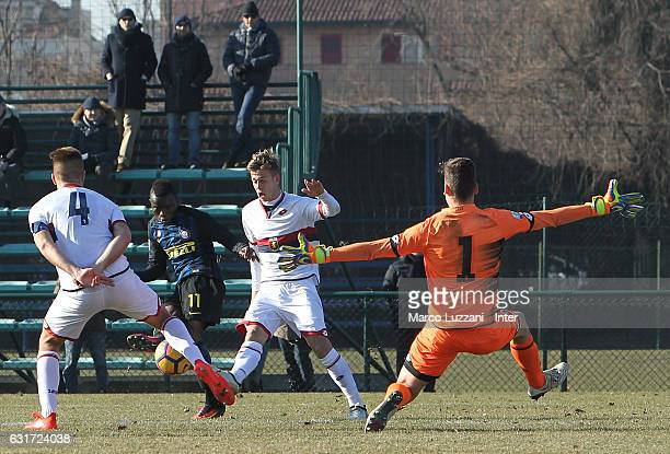 Moussa Souare of FC Internazionale Milano scores his second goal during the Primavera Tim juvenile match between FC Internazionale and Genoa CFC at...