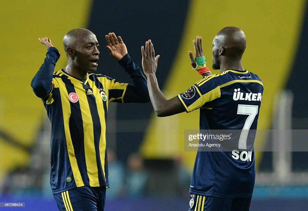<a gi-track='captionPersonalityLinkClicked' href=/galleries/search?phrase=Moussa+Sow&family=editorial&specificpeople=2336264 ng-click='$event.stopPropagation()'>Moussa Sow</a> (R) and Webo of Fenerbahce celebrates their score during the Turkish Spor Toto Super League match between Fenerbahce and Besiktas at Sukru Saracoglu Stadium in Istanbul, Turkey on March 22, 2015.