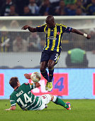 Moussa Sow of Fenerbahce is challenged by Thorben Marx of Moenchengladbach during the UEFA Europa League group C match between Borussia...
