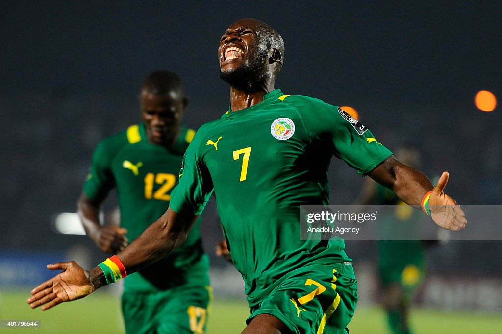 <a gi-track='captionPersonalityLinkClicked' href=/galleries/search?phrase=Moussa+Sow&family=editorial&specificpeople=2336264 ng-click='$event.stopPropagation()'>Moussa Sow</a> of Senegal celebrates after scoring a goal during the 2015 Africa Cup of Nations Group C soccer match between Ghana and Senegal at the Mongomo Stadium on January 19, 2015 in Mongomo, Equatorial Guinea.