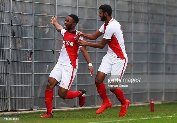Moussa Sylla of AS Monaco celebrates as he scores their second goal during the UEFA Youth Champions League match between AS Monaco FC and Tottenham...