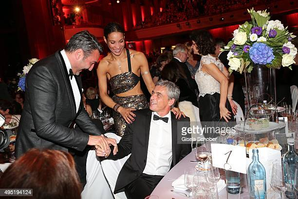 Mousse T Annabelle Mandeng and her partner Hajo during the Leipzig Opera Ball 2015 on October 31 2015 in Leipzig Germany