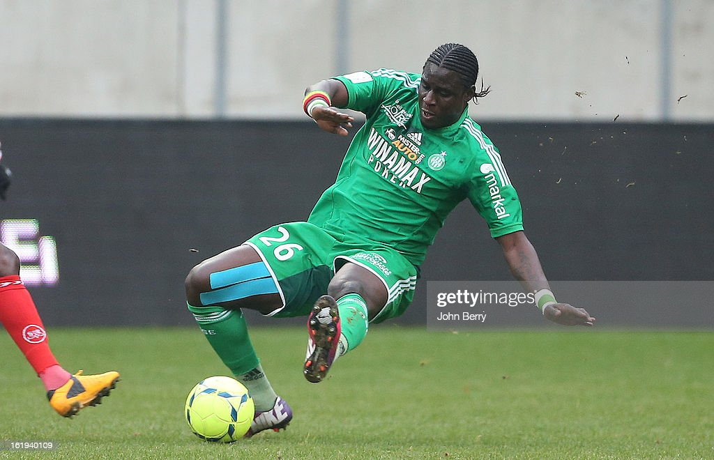 Moustapha Bayal Sall of ASSE in action during the french Ligue 1 match between Stade de Reims and AS Saint-Etienne at the Stade Auguste Delaune on February 17, 2013 in Reims, France.