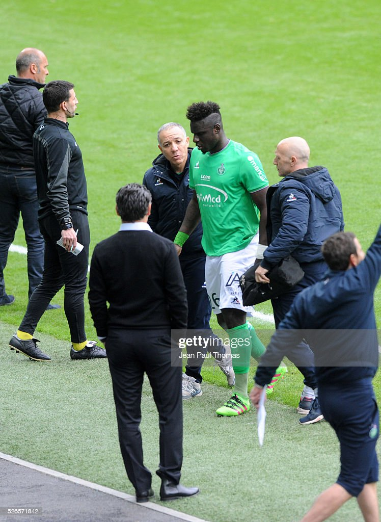 Moustapha SALL goes off and Christophe GALTIER coach of Saint Etienne during the French Ligue 1 match between AS Saint Etienne and Toulouse FC at Stade Geoffroy-Guichard on April 30, 2016 in Saint-Etienne, France.