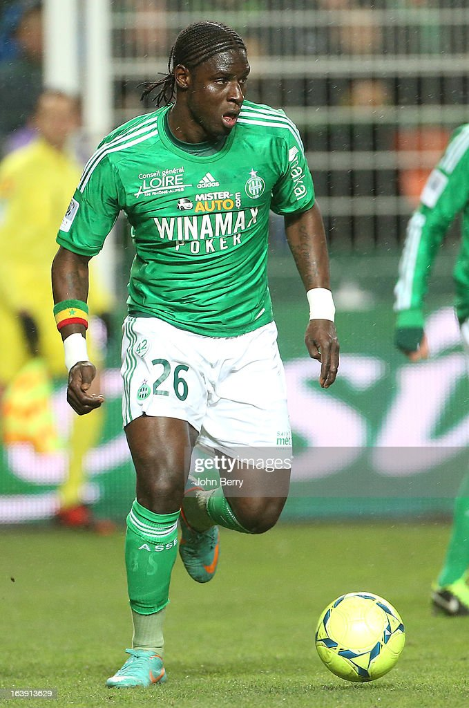 Moustapha Sall of Saint-Etienne in action during the Ligue 1 match between AS Saint-Etienne ASSE and Paris Saint-Germain FC at the Stade Geoffroy-Guichard on March 17, 2013 in Saint-Etienne, France.