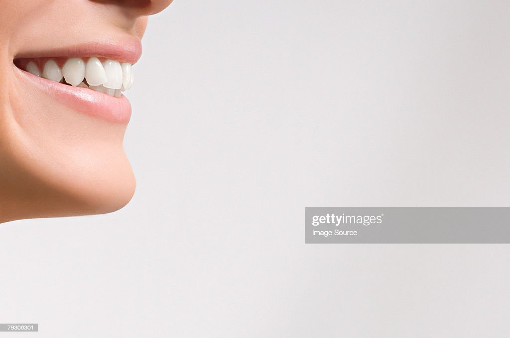 Mouth of a woman smiling