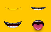 Mouth of character on a yellow background. Mimicry face of a cartoon little man. 3d render.