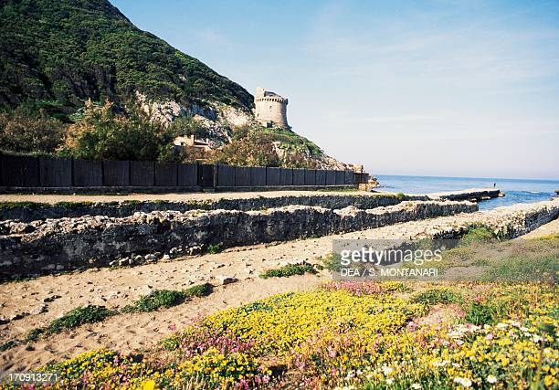 Mouth of the Roman portcanal at Torre Paola National Park of Circeo Lazio Italy