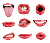 A collection of glossy, red-lipped, precision-isolated female mouths, shot in high resolution and set against a pure white background. Mouths depict varous expressions, and have perfect, white, straig