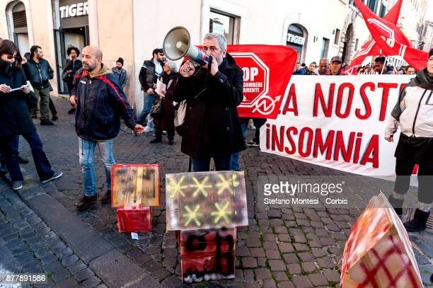 Movements for the right to housing contest the Five star Movement and its leader Bebbe Grillo who is holding a show called 'Insonnia' at the Flaiano...