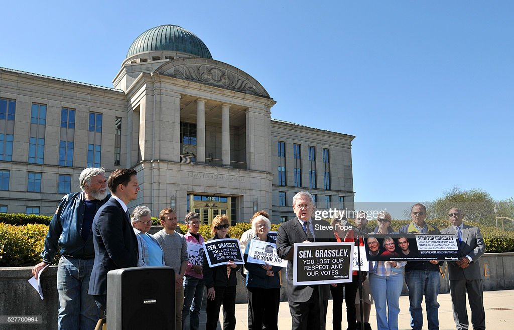 MoveOn.Org supporters gather outside the Iowa Justice Building, at an event named 'Senator Grassley, Do Your Job Or Lose The Respect And Votes' on May 3, 2016 in Des Moines, Iowa.