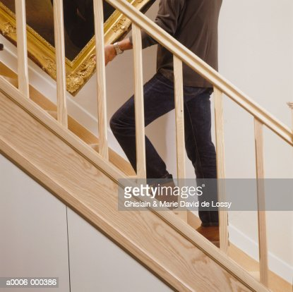 Mover Carrying Painting : Stock Photo