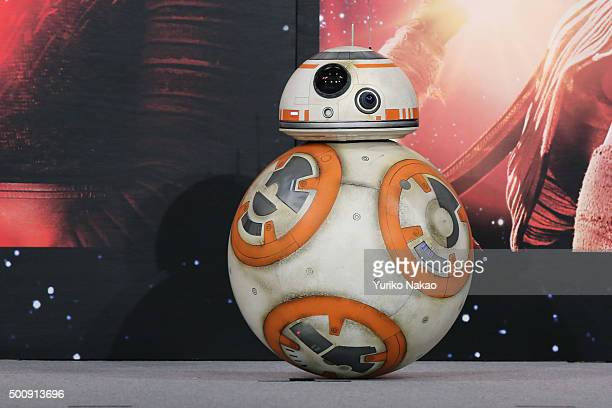 BB8 moves across the stage during the press conference for 'Star Wars The Force Awakens' Japan premiere at the Sheraton Grande Tokyo Bay Hotel on...