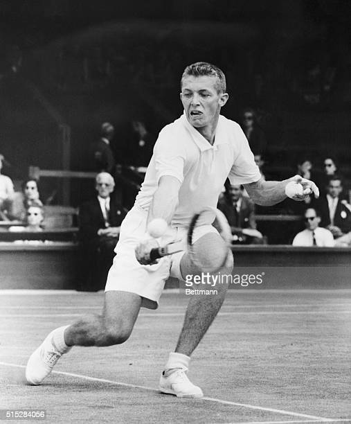 Moves into Men's Singles Semifinals at Wimbledon Wimbledon England Top seeded Tony Trabert shown in action during his singles match against N Kumar...