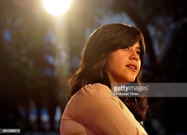 Movie and television producer Ekta Kapoor in conversation with Sidharat Dhanvant on Each Other Stories during Jaipur Literature Festival on January...