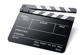 Film slate on white background.