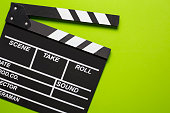 movie clapper on green background