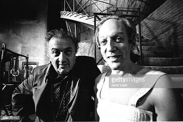 Movie Director Federico Fellini on the set of Casanova with Donald Sutherland on July 10 1975 in Rome Italy