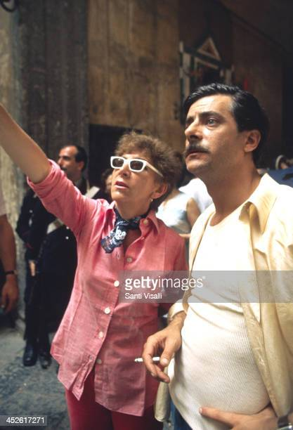 Movie Director Lina Wertmuller with Giancarlo Giannini on the set of Pasqualino on August 1 1975 in Naples Italy