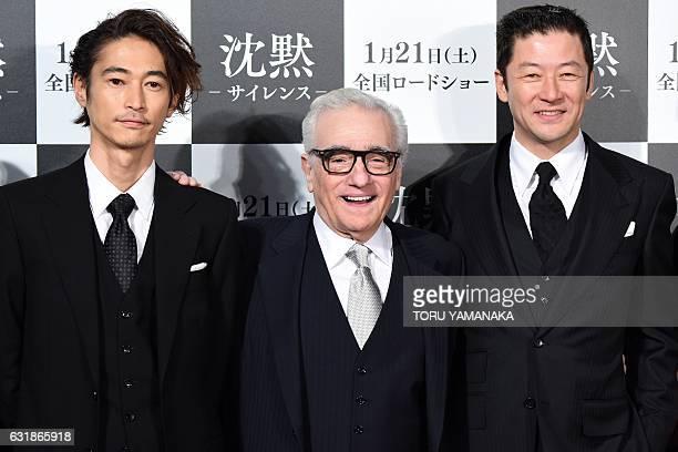 US movie director Martin Scorsese poses with Japanese actors Yosuke Kubozuka and Tadanobu Asano before the Japan premiere of his newest film...