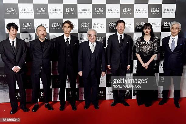 US movie director Martin Scorsese poses with Ryo Kase Shinya Tsukamoto Yosuke Kubozuka Tadanobu Asano Nana Komatsu and Issey Ogata before the Japan...