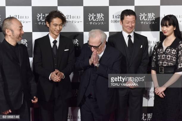 US movie director Martin Scorsese poses with Shinya Tsukamoto Yosuke Kubozuka Tadanobu Asano and Nana Komatsu before the Japan premiere of his newest...