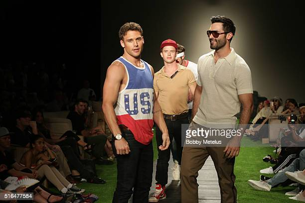 Movie ' Everybody Want Some' actors Ryan GuzmanWill Brittain Blake Jenner and Tyler Hoechlin walk the runway at the Funkshion Fashion Week in Miami...