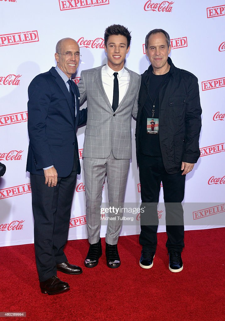Movie executive Jeffrey Katzenberg actor Cameron Dallas and AwesomenessTV CEO Brian Robbins attend the premiere of AwesomenessTV's film 'EXPELLED' at...