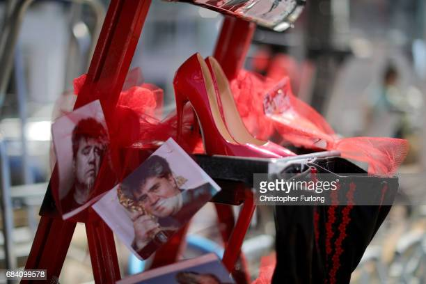 A movie fan decorates their step ladder as they stake their claim for a position to view celebrities on the first day of the 70th annual Cannes Film...