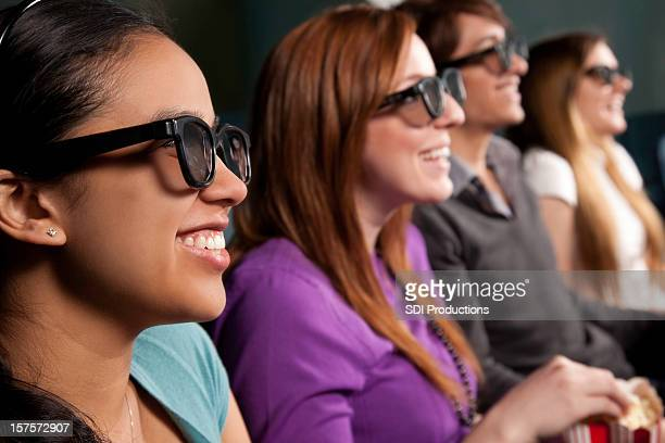Movie Goers With 3D Glasses on at the Movies
