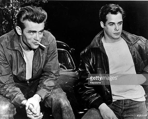 Movie icon James Dean and costar Corey Allen in a scene from the Warner Brothers movie 'Rebel Without A Cause'