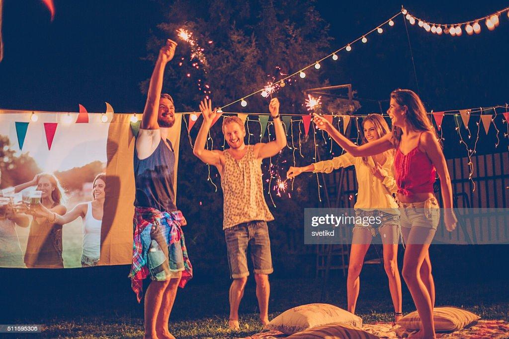 Filmnacht mit Freunden : Stock-Foto