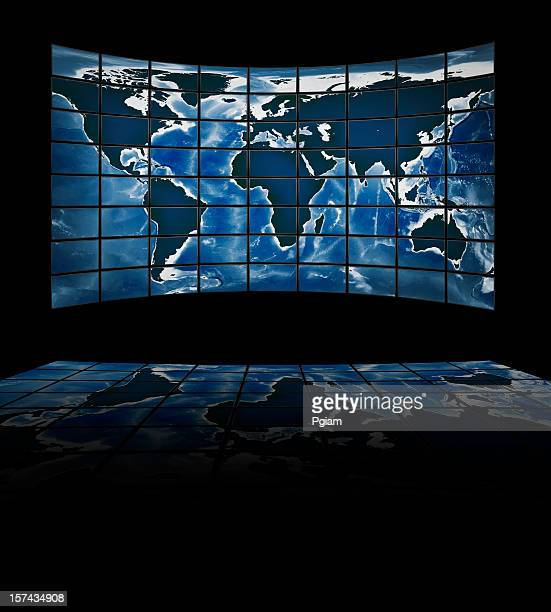 TV movie panels showing the continents