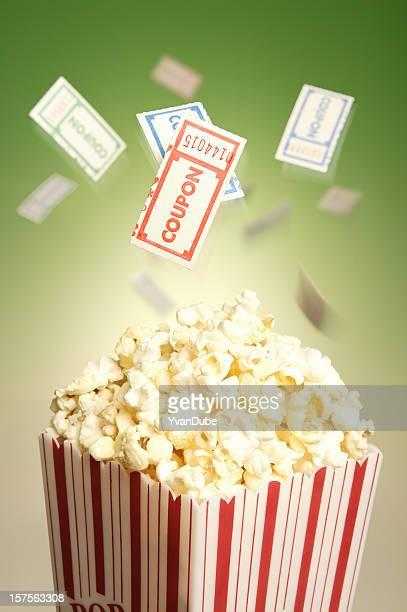 movie popcorn box and tickets