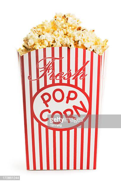 Movie Popcorn Box, Fresh Snack Food Container Isolated on White