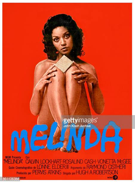 Movie poster advertises the Argentine release of 'Melinda' starring Calvin Lockhart Rosalind Cash and Vonetta McGee with a screenplay by Lonnie Elder...