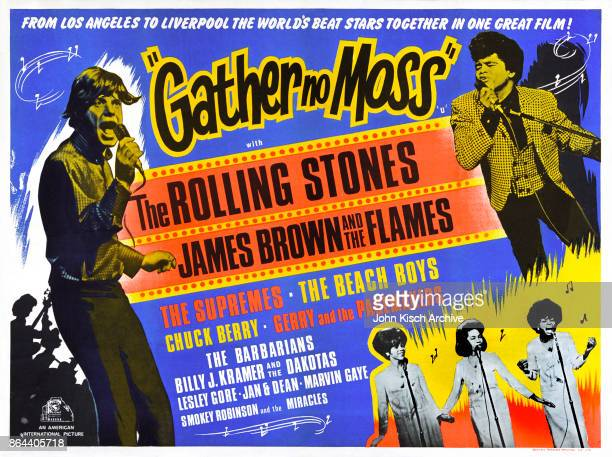 Movie poster advertises the British release of 'Gather No Moss' a musical performance film featuring the Rolling Stones James Brown the Supremes...