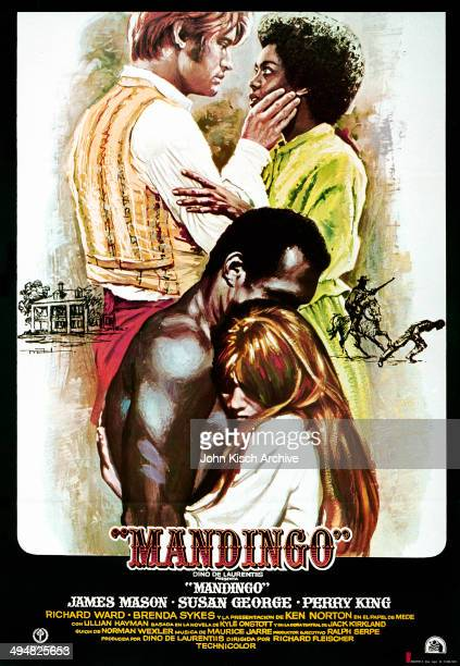Movie poster advertises the Spanish release of 'Mandingo' a southern slave drama starring Ken Norton James Mason Perry King and Brenda Sykes 1975