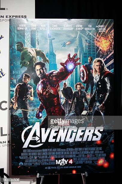 Movie poster at 'Marvel's The Avengers' premiere during the closing night of the 2012 Tribeca Film Festival at BMCC Tribeca PAC on April 28 2012 in...