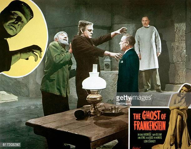 A movie poster for the 1942 Universal Pictures release The Ghost of Frankenstein pictures Bela Lugosi as Ygor Lon Chaney Jr as the monster Lionel...
