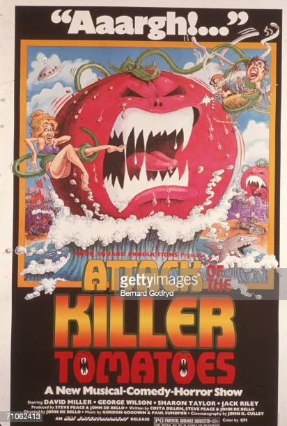 Movie poster for the cult film 'Attack of the Killer Tomatoes' featuring a cartoon of a tomato emerging from the sea and holding frightened people in...