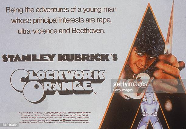 1971 Movie poster for the film 'A Clockwork Orange' directed by Stanley Kubrick and starring Malcolm McDowell