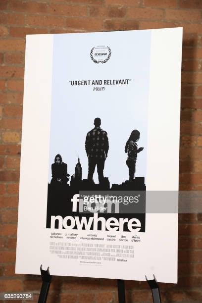A movie poster is seen on display during the Special Screening Of FilmRise's 'From Nowhere' at Tribeca Screening Room on February 13 2017 in New York...