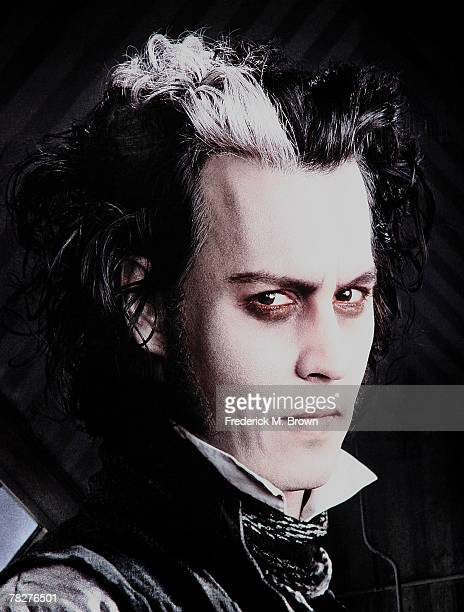 A movie poster of actor Johnny Depp on display at a special screening for DreamWorks Pictures' 'Sweeney Todd' at the Paramount Theater on December 5...