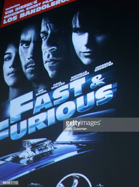 A movie poster promoting 'Fast Furious' is shown at an appearance by actor Vin Diesel at Meet The Filmmaker at Apple Store Soho on July 29 2009 in...